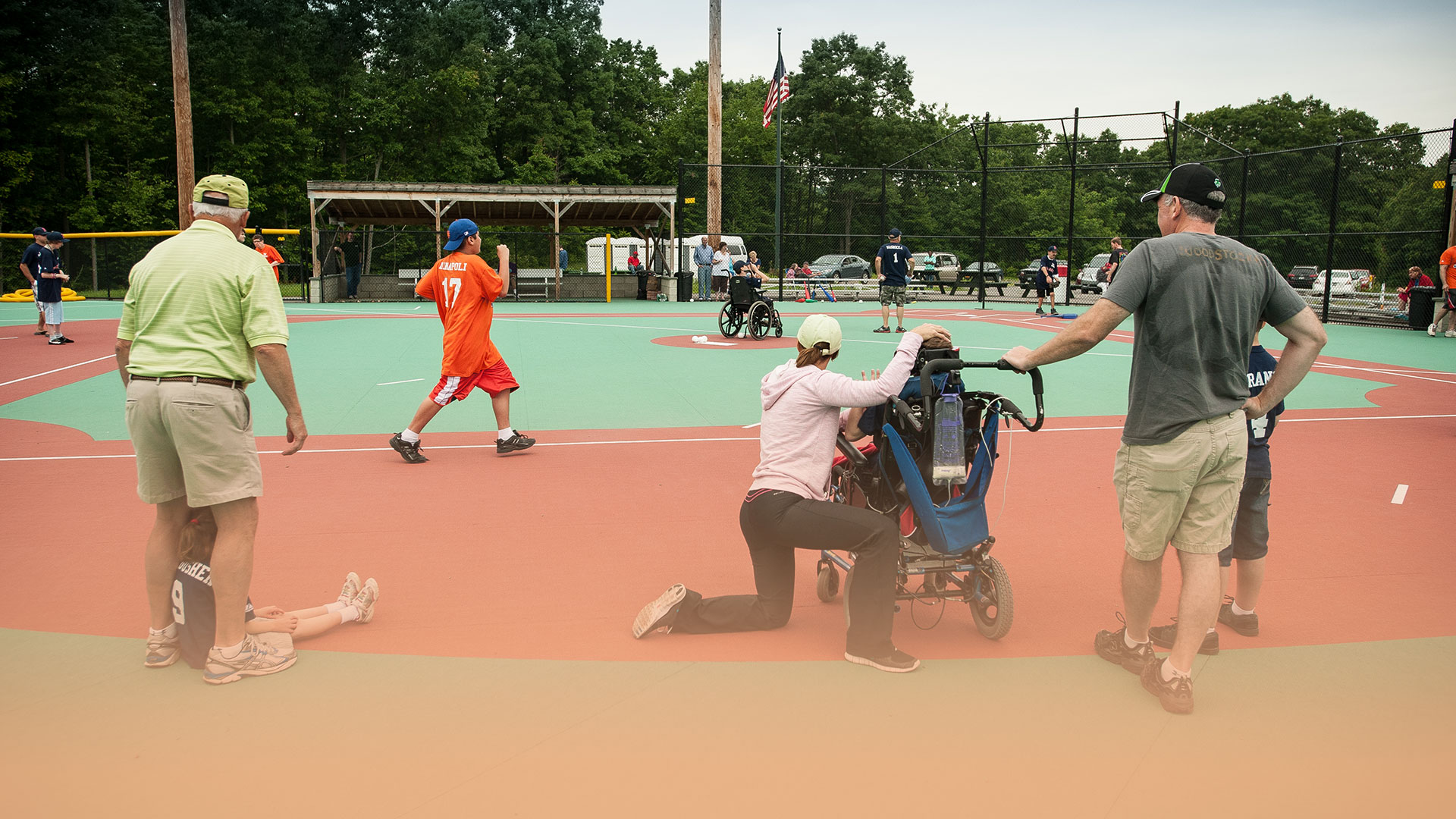Miracle League Playing Baseball on Field